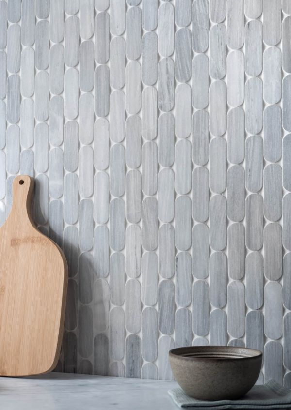 Ice Grey Marble Pill Mosaic Tiles